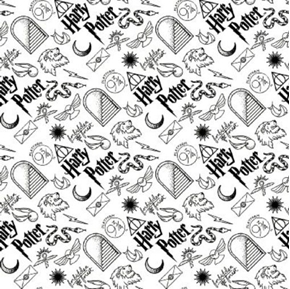 Picture of Flannel Wizarding World Harry Potter Icons Black White Cotton Fabric
