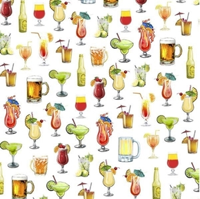 Picture of Margaritaville Cocktails Island Drink Jimmy Buffet White Cotton Fabric