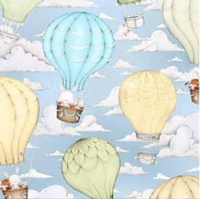 Up  Up and Away Hot Air Balloon Scenic Bunny Mouse Blue Cotton Fabric