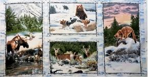 Snowy Silence Woodland Animals Moose Bear 24x44 Cotton Fabric Panel
