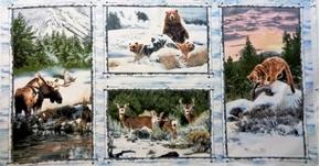 Snowy Silence Woodland Animals Moose Bear 24x44 Cotton Fabric Panel