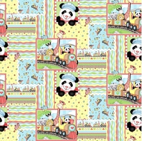 Picture of Bazooples Choo Choo Patch Giraffe Zebra Panda Train Cotton Fabric