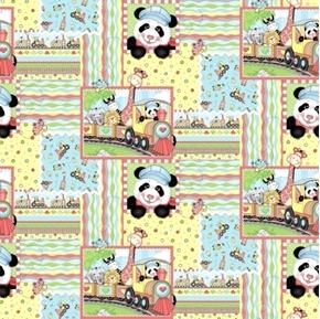 Bazooples Choo Choo Patch Giraffe Zebra Panda Train Cotton Fabric