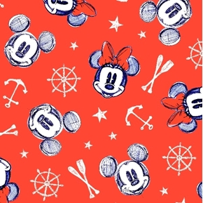 Picture of Disney Mickey and Minnie Aye Aye Nautical Red Cotton Fabric