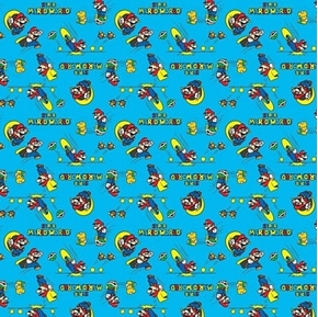 Picture of Nintendo Super Mario World Video Game Action Blue Cotton Fabric