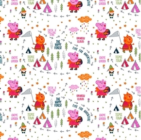 Peppa Pig Happy Forest Nature Walk Exploring White Cotton Fabric