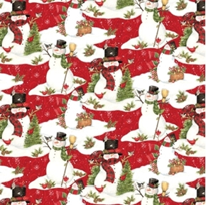 Snowman Scenic Holiday Snowmen Songbirds Red Cotton Fabric