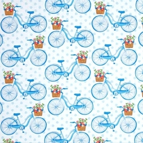 Farmers Market Bicycles with Baskets of Flowers Cotton Fabric