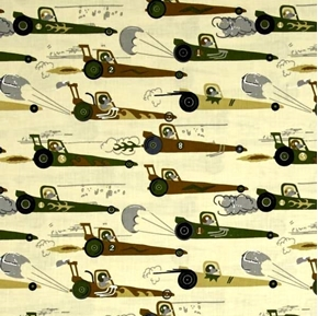 Rat Race Redux Drag Racing Mice Green on Yellow Cotton Fabric
