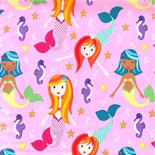 Flannel Mermaids Fairy Tails Mermaid Seahorse Pink Cotton Fabric