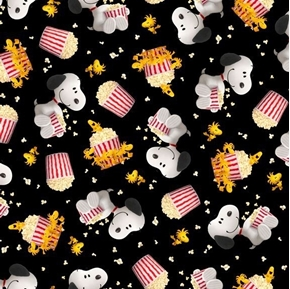 Picture of Popcorn and Peanuts Snoopy and Woodstock Toss Black Cotton Fabric