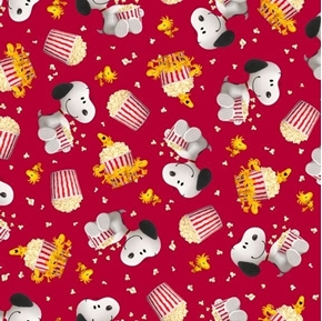 Picture of Popcorn and Peanuts Snoopy and Woodstock Toss Red Cotton Fabric