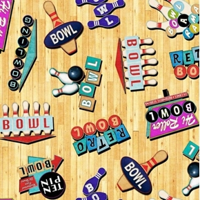 Bowl-A-Rama Retro Bowling Signs Bowling Alley Wood Cotton Fabric
