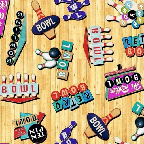 Picture of Bowl-A-Rama Retro Bowling Signs Bowling Alley Wood Cotton Fabric