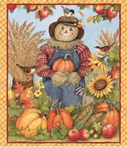 Picture of Harvest Scarecrow Autumn Pumpkins Sunflowers Large Cotton Fabric Panel
