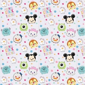 Disney Tsum Tsum I Love My Friends Stack Together Cotton Fabric