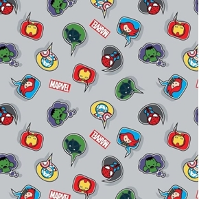 Picture of Marvel Kawaii Speech Bubbles on Gray Cotton Fabric