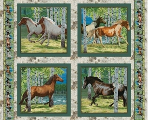 Wild Wings Horses Running Free Cotton Fabric Pillow Panel Set