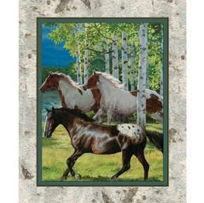 Wild Wings Horses Running Free Birch Trees Large Cotton Fabric Panel