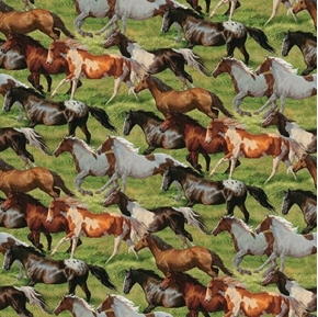 Wild Wings Horses Running Free Wild Horse All Over Cotton Fabric