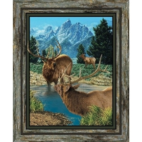 Wild Wings Glenson Range Elk in the Wild Large Cotton Fabric Panel