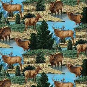 Wild Wings Glenson Range Elk Scenic Bugling Mountains Cotton Fabric