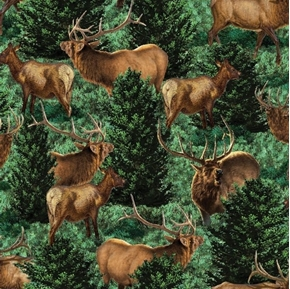 Wild Wings Glenson Range Elk in the Woods Allover Cotton Fabric