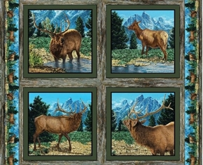 Picture of Wild Wings Glenson Range Wild Elk Cotton Fabric Pillow Panel Set