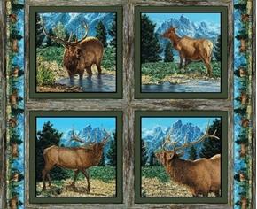 Wild Wings Glenson Range Wild Elk Cotton Fabric Pillow Panel Set
