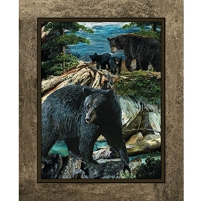 Wild Wings Bear Essence Wild Bears Scenic Large Cotton Fabric Panel