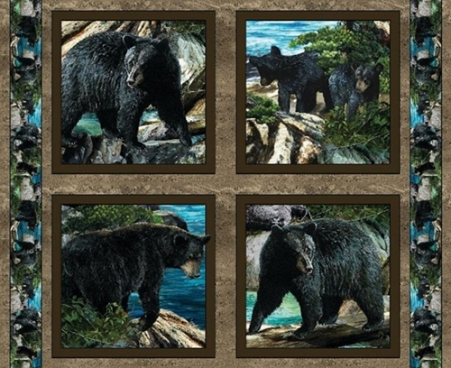 Wild Wings Bear Essence Bears Scenic Cotton Fabric Pillow Panel Set