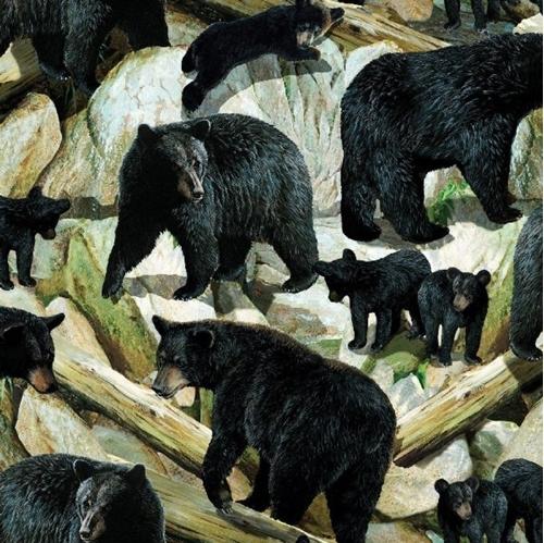 Wild Wings Bear Essence Bear Scenic Wild Animal Cotton Fabric