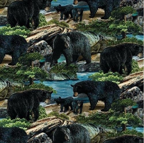 Wild Wings Bear Essence Bears Allover Wild Animal Cotton Fabric