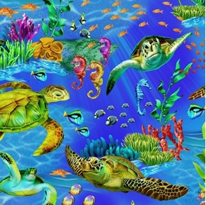 Ocean Life Sea Turtles Fish Seahorses Coral Underwater Cotton Fabric