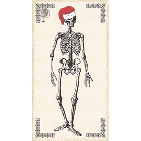 Picture of Chillingsworth Christmas Skeletons Santa Hat 24x44 Cotton Fabric Panel