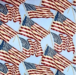 Quilts of Valor Patriotic Flags Waving on Sky Blue Cotton Fabric