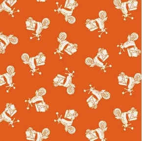 Vacation Tonal Scooters Motor Bikes Tiny Orange Cotton Fabric