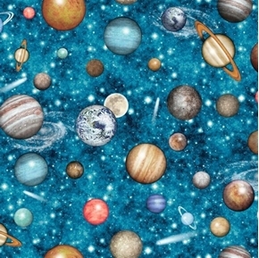 Picture of Intergalactic Planets Outer Space Solar System Teal Cotton Fabric