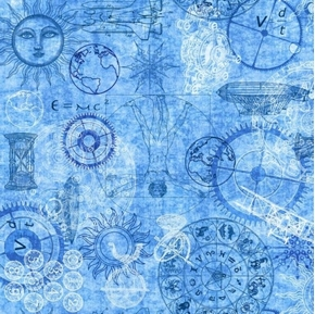 Picture of Intergalactic Space Time E=MC2 Exploration Blue Cotton Fabric