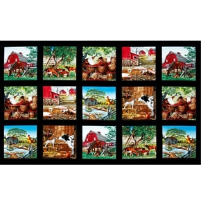 Farm Life Cow Pig Horse Goat Rooster Blocks 24x44 Cotton Fabric Panel