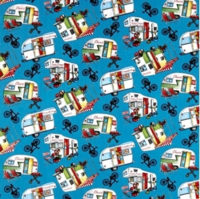 Happy Camper Retro Campers Bicycles Camping Blue Cotton Fabric