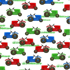 Picture of Farm Life Tractor Red Green and Blue Tractors on White Cotton Fabric