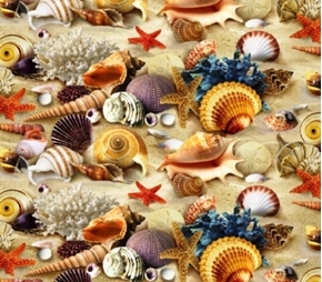 Landscape Medley Shells in Sand Beach Shell Collection Cotton Fabric