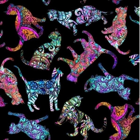 Picture of Purr-suasion Tossed Cats Decorative Paisley Cat Black Cotton Fabric