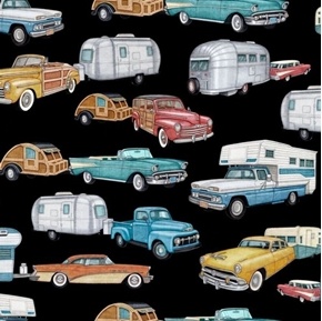 Picture of Backcountry RV's Vintage Campers Retro Trailers Black Cotton Fabric