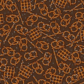 Picture of In Doubt, Drink Stout Pretzels Salty Pretzel Snack Brown Cotton Fabric