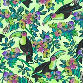Toucan Do It Toucans and Floral Tropical Birds Green Cotton Fabric