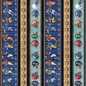 Gridiron Football Decorative Stripe Players Balls Blue Cotton Fabric