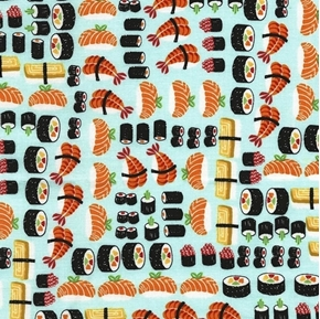 Sushi Japanese Sushi Rolls and Sashimi Blue Cotton Fabric