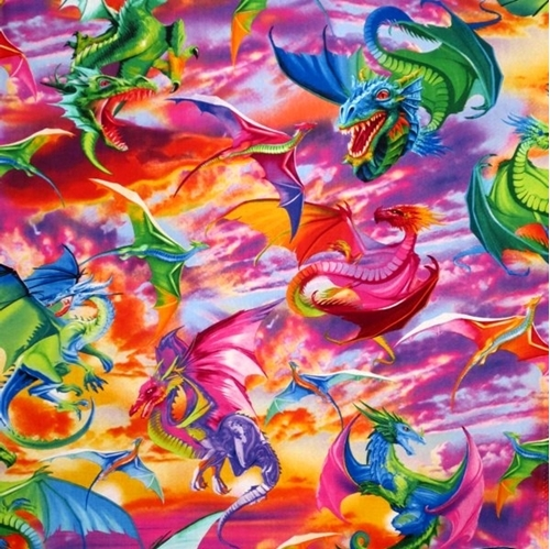 Picture of Colorful Large Dragons Dragon Battle Mystical 24x22 Cotton Fabric